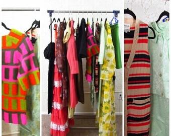 13 PIECE Mixed Lot Vintage 50s 60s 70s Womens Clothing Dress Sets Bohemian Unique Mad Men Unusual Lot #1