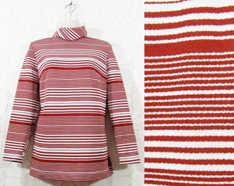 Vtg 60s/70s Striped Turtle Neck Loose Rust & White Tunic Top by Donovan Galvani