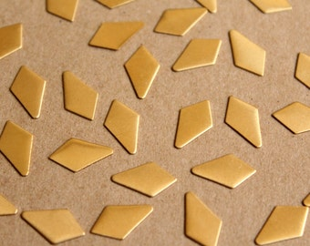 20 pc. Small Raw Brass Dropped Diamond Stampings: 13.5mm by 7mm - made in USA - RB-909