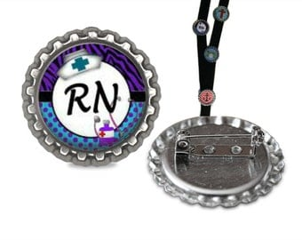 RN Lanyard Pin lanyard clip id, id tag, retractable id, lanyard id, name tag, badge holder, badge clip, name badge holder