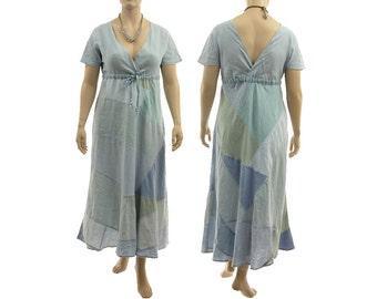 Blue boho maxi patchwork dress, linen summer dress light blue, blue linen dress empire waistline / lagenlook plus size L-XL, US size 16-18