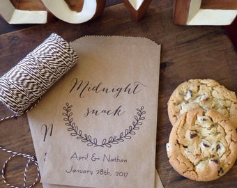 Personalized Cookie Buffet or Snack Bar Bags for your Rustic or Elegant Wedding, Sold in Packs of 25