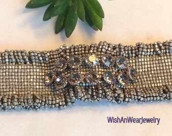 Repurposed Vintage Shoe Clip Bracelet Silver Tone Beads Woven Smokey Prong Set Rhinestones Bohemian WishAnWearJewelry