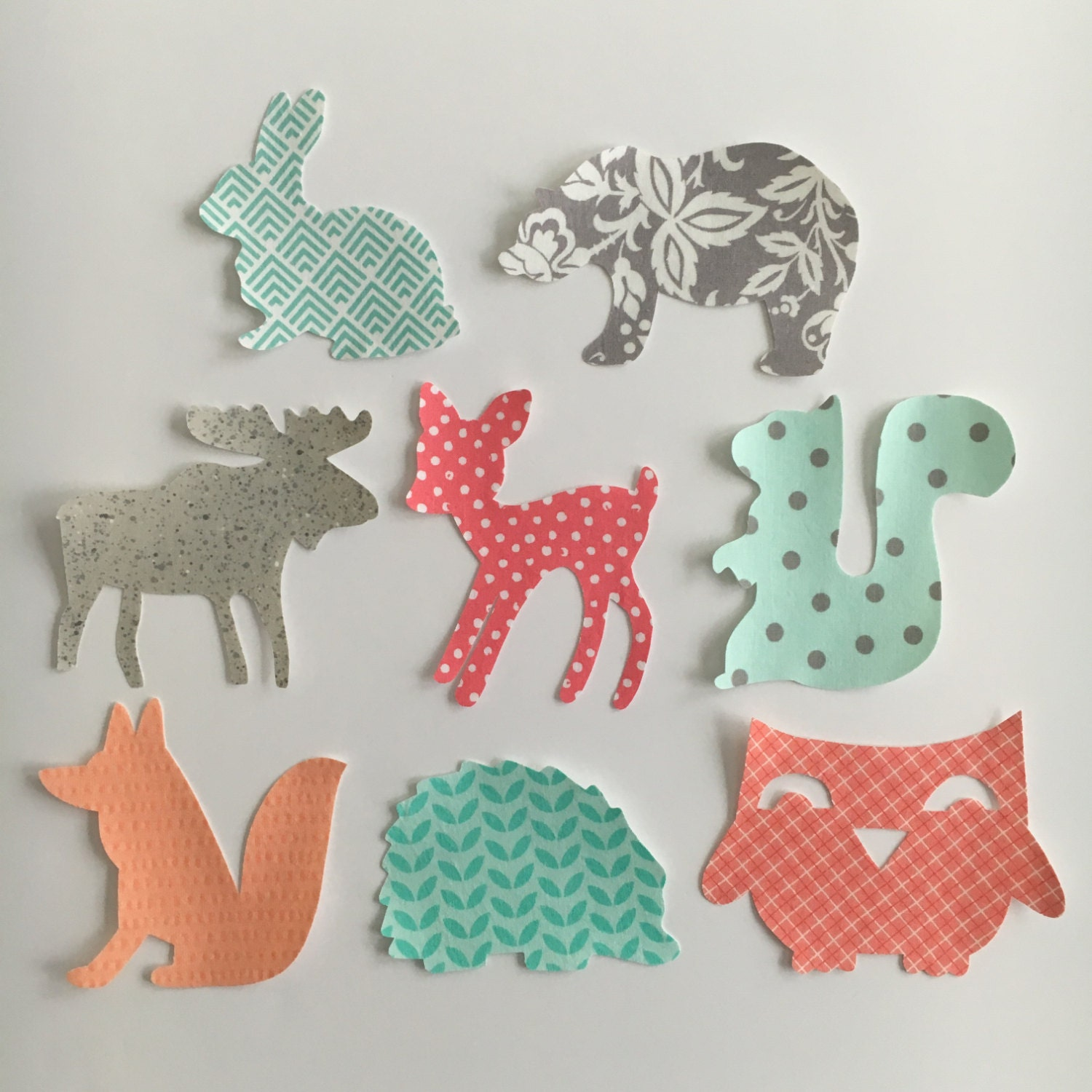 iron on appliques woodland animals theme for baby shower. Black Bedroom Furniture Sets. Home Design Ideas