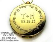 Boyfriend Gift, Long Distance Boyfriend Gift, Long Distance Relationship, Compass necklace, Working Compass Gift, Engraved Compass