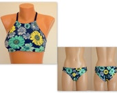 PADDED Floral high neck bikini top and fully lined full coverage bottoms-Bathing suit-Swimwear-Swimsuit-Choose your color-XS-S-M-L-XL
