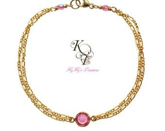 Birthstone Bracelet, Gold Filled Bracelet, Birthstone Jewelry, Mothers Bracelet, Mothers Jewelry, Crystal Bracelet, Mothers Day Gift