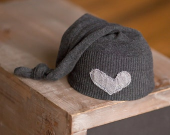 Newborn Hat Upcycled Charcoal Gray Hat with Light Gray Heart Newborn Boy Hat Neutral Newborn Hat READY TO SHIP Elf Hat Photography Prop