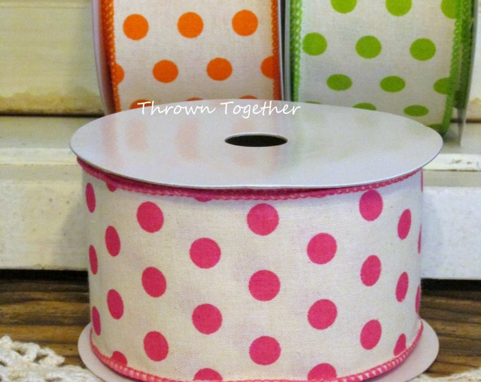 "Pink Polka Dot Print Ribbon, 2 1/2"" Wired Ribbon 5yd, Pink Cream Ribbon, Pink Polka Dot Ribbon, Wired Wreath Ribbon, 2.5inch Craft Ribbon"