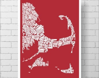 Cape Cod Typography Map Print - Custom Cape Cod Map, Various Colors, Type Map Art Print Poster