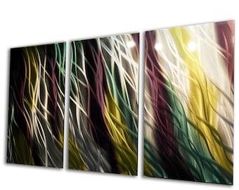Metal Wall Art Aluminum Decor Abstract Contemporary Modern Sculpture Hanging Zen Textured - Jewel 47