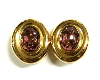 Vintage Givenchy Amethyst Crystal and Gold Clip Earrings