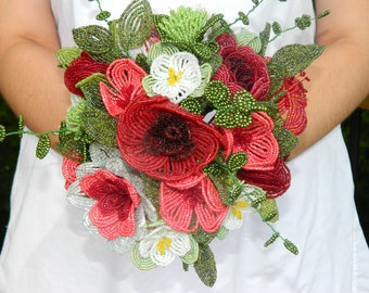 French Beaded Flower Bouquet Arrangement