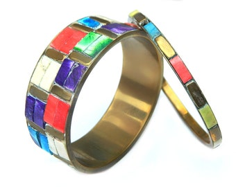 Multicolor Brass Boho Bangle Set 60s Vintage Dyed Glass Tile Bangles For Women Brass And Tile Red Blue White Green Pink Purple Green