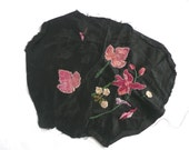Antique embroidery sample - antique embroidered silk - embroidered black silk - antique appliqued black jacquard silk