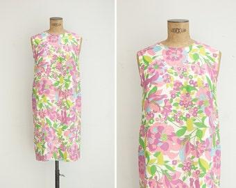 1960s Dress - Vintage 60s Floral Shift Dress - Parterre Dress