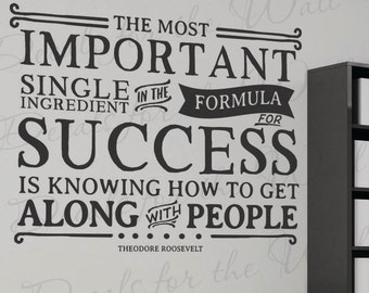 Theodore Roosevelt The Most Important Single Ingredient In The Formula For Success Is Know How To Get Along With People - Wall Letterin M01B