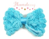"5.5"" Large Rosettes Bows  - Turquoise Blue  Color - Blue Shabby Bows - Chiffon Rosettes Bows -Bows/Birthday Bows - Hair Accessories Supplies"
