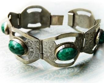 Vintage Silver Mexican Bracelet / Green Stones
