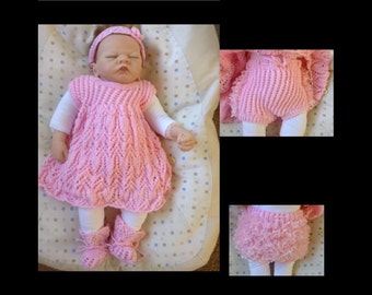 Baby Pinafore Dress Set to fit 0-3 month or a 22 inch Reborn Baby Doll in Pink Yarn Ready to Ship Now