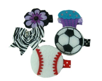Girls, Toddler, Baby Hair Clips, Felt Clips, Small Bow, Flower Hair Clip, No Slip Clippies
