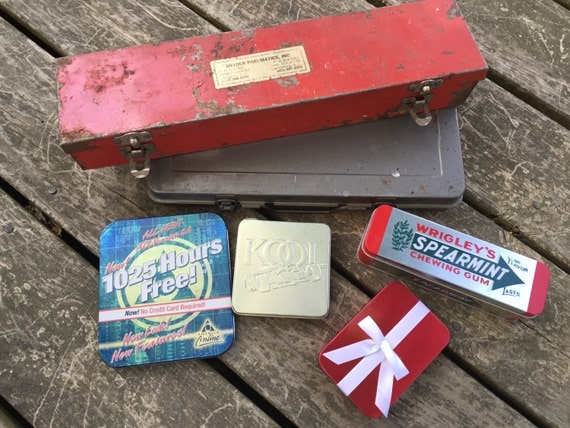 Vintage metal box lot altered art supplies craft storage for Metal art craft supplies