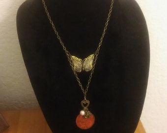 Rose and Butterly Necklace