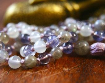Labradorite Moonstone and Iolite Mixed Gemstone Mala Beads Knotted Gemstone Mala Yoga Jewelry Meditation Beads Japa Mala Spiritual Jewelry