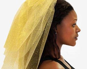 Gold Sparkle Tulle Veil - 4 Layer : Bachelorette Party Veil, Gold Bachelorette Veil, Bachelorette Party, Bridal Shower Veil, Hen Party Veil