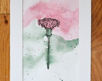 Watercolor of a pink flower, 5X7 in.