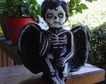 Stefan, Creepy, Skeleton Angel/Demon boy, Day of the dead figurine