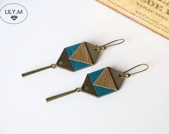 Earrings, Geometric Leather, Blue Duck and bronze ASTERIA, Lily.M