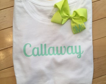 Custom Name Shirt with matching Bow
