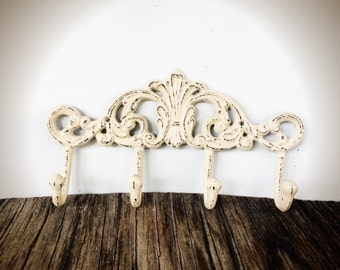 BOLD linen ivory white ornate multi wall hook // towel coat key hooks // shabby chic rustic french country vintage // entryway storage