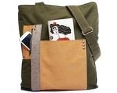 SALE Men's leather canvas satchel, leather canvas man bag,  large bag, messenger leather purse,  ipad laptop messenger bag , cross body bag