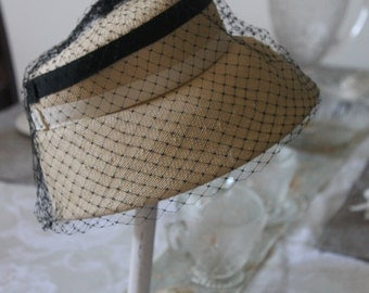 Vintage Veiled Straw Hat, French Chic Vintage Hat