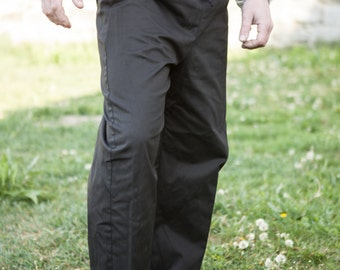 Medieval Cotton Trousers; Classic Straight Pants