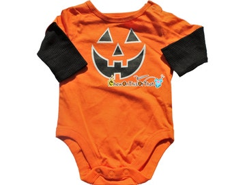 Baby's First Halloween Personalized Jack O Lantern Costume Onesie with Black Sleeves, Bodysuit, Shirt, Top
