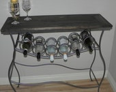 Iron Wine Rack Console with Distressed Wood Top