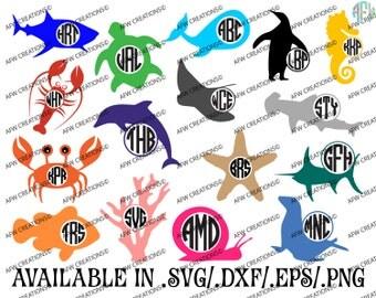 Digital Cut Files, 16 Sea Life Monogram Frames, SVG, DXF, EPS, Ocean, Animal, Beach, Summer, Marine, Vinyl, Vector, Silhouette, Cricut