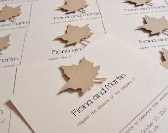 Personalised Handmade Autumn Leaf Wedding Invitation Sample