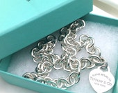 "Vintage Sterling Silver Return to TIFFANY & Co 925 HEART Logo Luggage Tag Charm Pendant Link 16"" Chain Choker Necklace Pouch/Box"