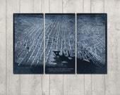 Vintage Baltimore METAL Map Blueprint Triptych FREE SHIPPING