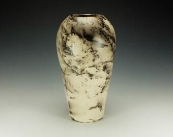 Horse Hair Raku pottery vase.  Black and white.  Ready to ship.