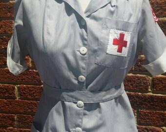 Vintage 40s 50s Red Cross Nurse Volunteer Dress Uniform Size 14