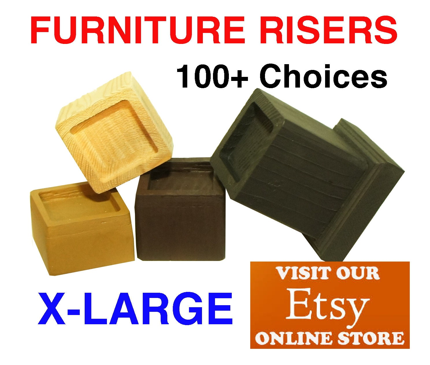 X large furniture risers and bed lifters by furnitureriserscom for Furniture risers