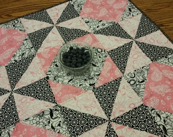 Baby girl quilt or table topper pink, white and black with cherries on back