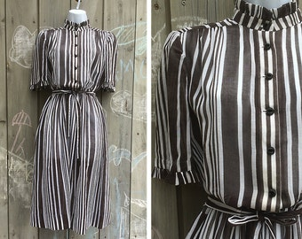 Vintage dress | Chocolate brown and white striped semi-sheer day dress