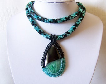 Statement Beadwork Bead Embroidery Pendant Necklace with Druzy Agate - MINT FLOWER - mint green, black - modern necklace - Agate necklace