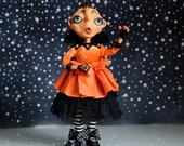 OOAK Halloween Pumpkin Art Doll  Queen Clara  Doll Artist Cheryl Austin